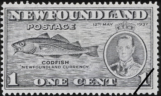 """Codfish, """"Newfoundland Currency"""", King George VI, 12th May 1937 Newfoundland Postage Stamp"""