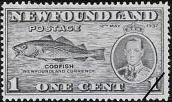 "Codfish, ""Newfoundland Currency"", King George VI, 12th May 1937 Newfoundland Postage Stamp"