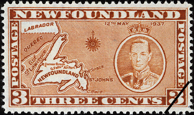 Map Of Newfoundland King George VI 12th May 1937 Postage Stamp