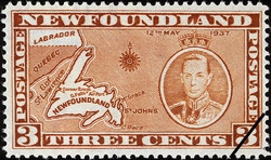 Map of Newfoundland, King George VI, 12th May 1937 Newfoundland Postage Stamp