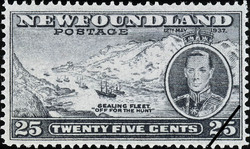 "Sealing Fleet, ""Off for the Hunt"", King George VI, 12th May 1937 Newfoundland Postage Stamp"