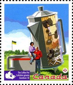 Roadside Attractions - The Coffee Pot Canada Postage Stamp   Roadside Attractions
