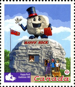 Roadside Attractions - Happy Rock Canada Postage Stamp   Roadside Attractions
