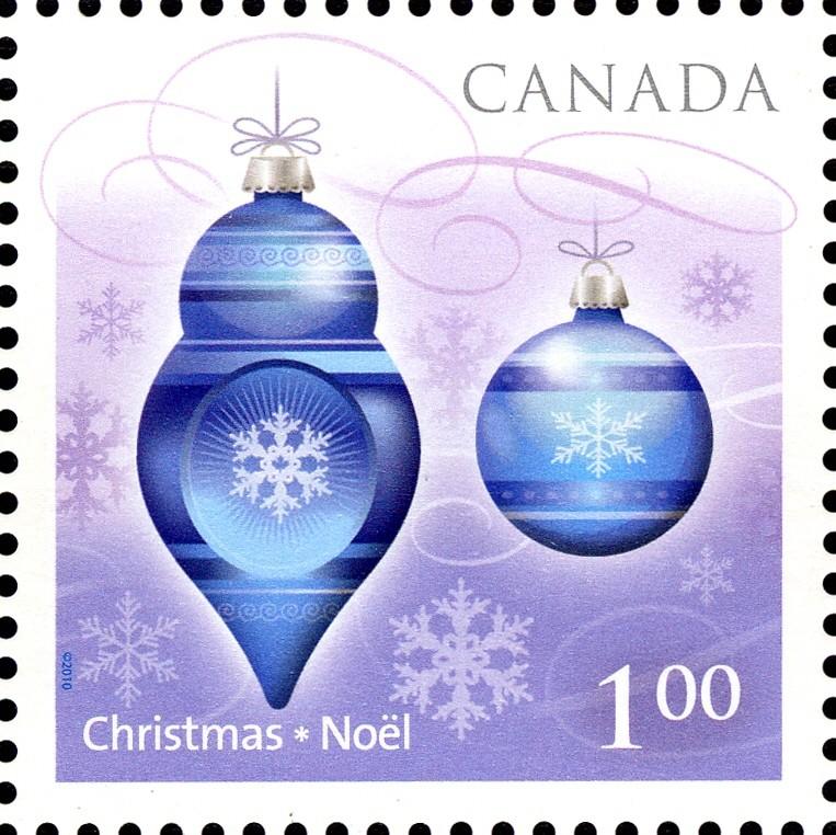 Christmas Ornaments Canada Postage Stamp   Christmas 2010