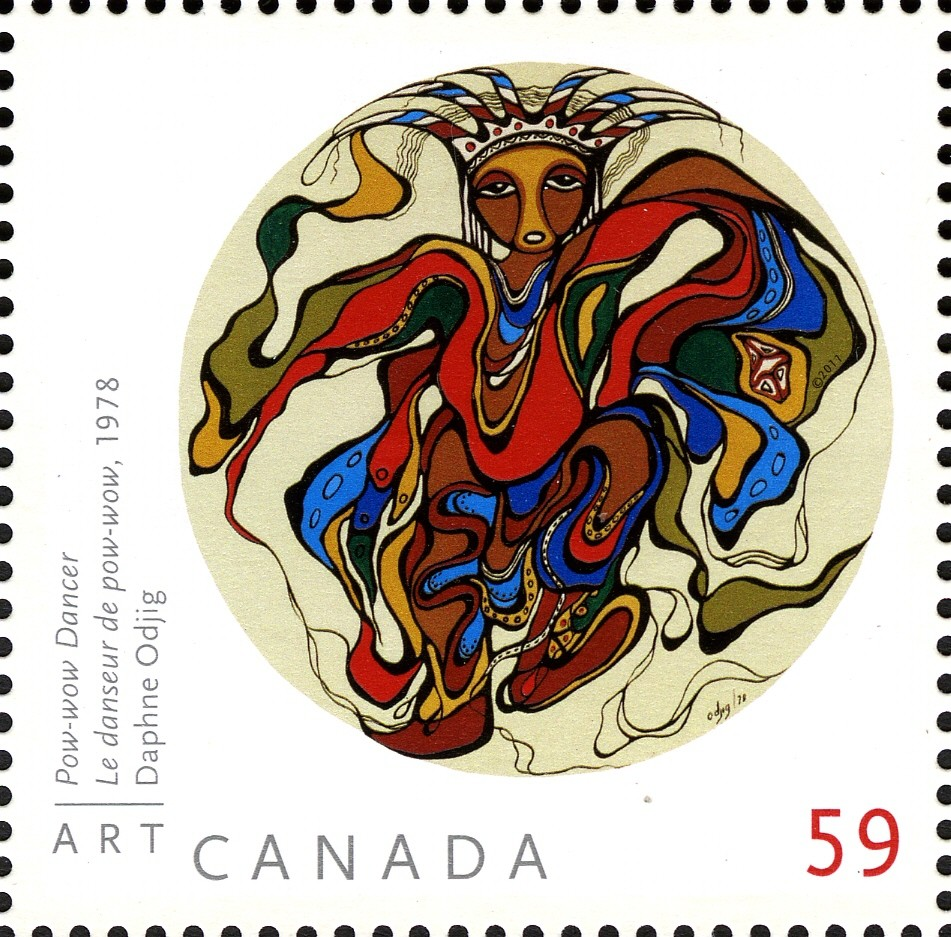 Daphne Odjig - Pow-wow Dancer Canada Postage Stamp   Art Canada