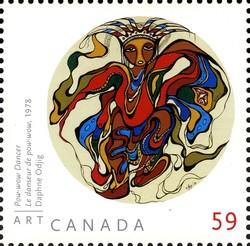 Daphne Odjig - Pow-wow Dancer Canada Postage Stamp | Art Canada