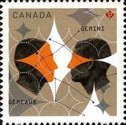 Signs of the Zodiac: Gemini, the twins Canada Postage Stamp | Signs of the Zodiac