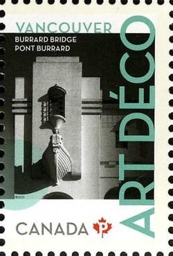 Burrard Bridge: Art Deco Canada Postage Stamp | Architecture - Art Deco