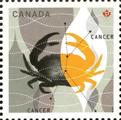 Signs of the Zodiac: Cancer, the crab Canada Postage Stamp | Signs of the Zodiac