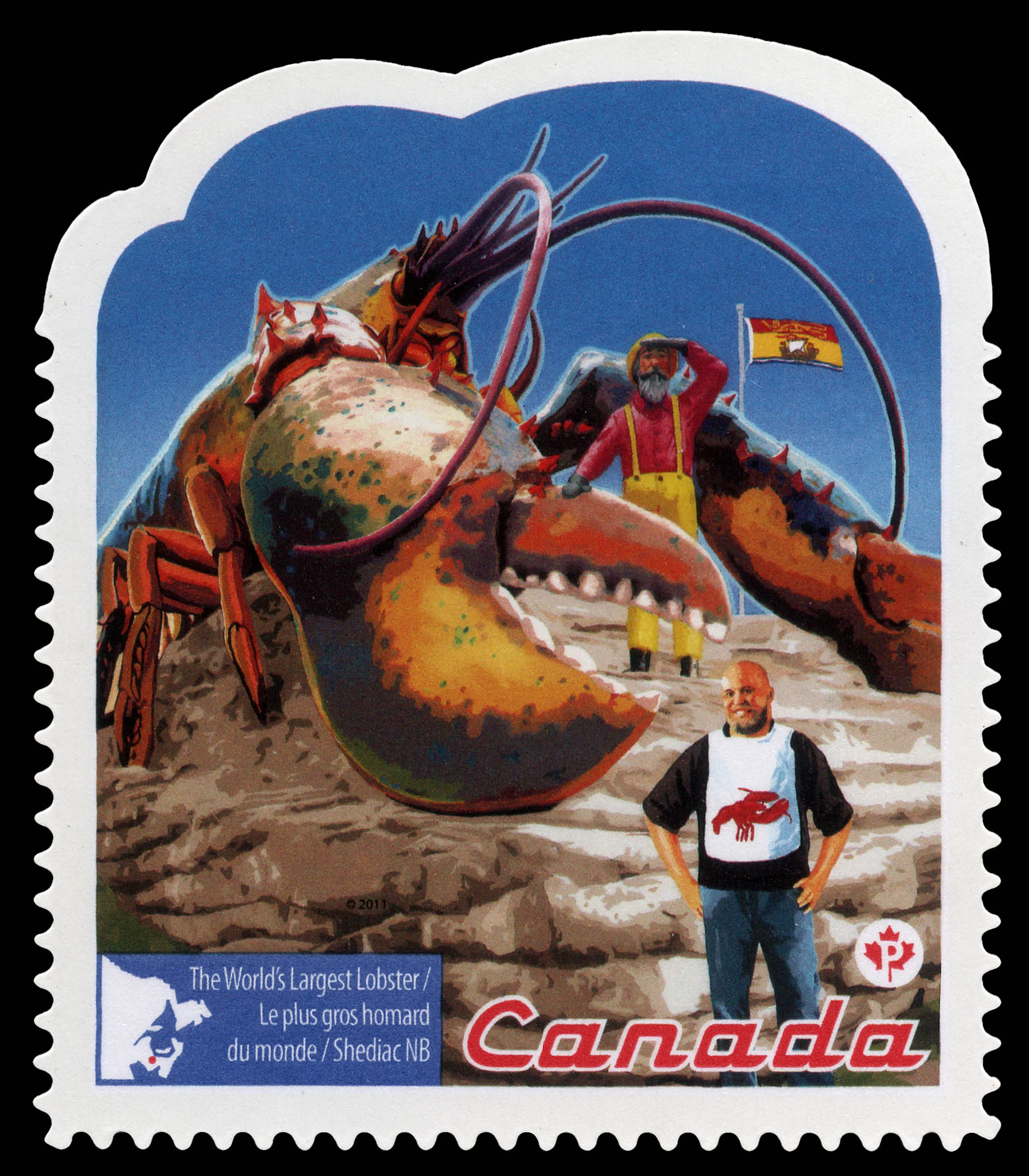 The World's Largest Lobster - Shediac NB Canada Postage Stamp | Roadside Attractions