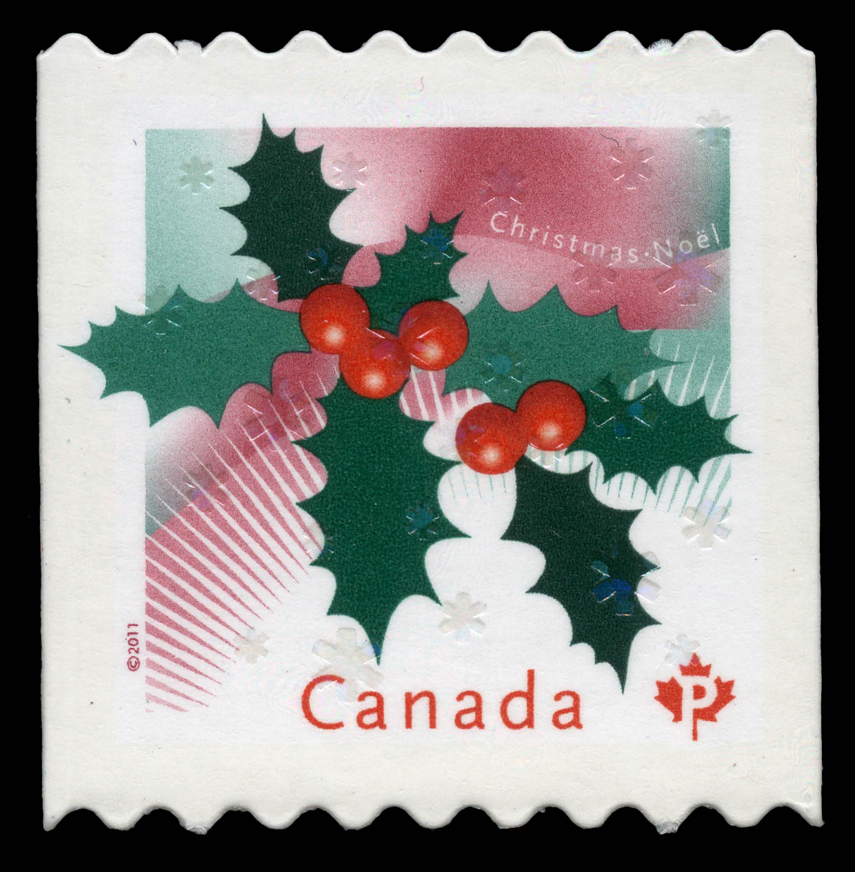 Christmas Holly Canada Postage Stamp