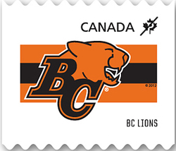 British Columbia (BC) Lions Canada Postage Stamp | CFL Teams