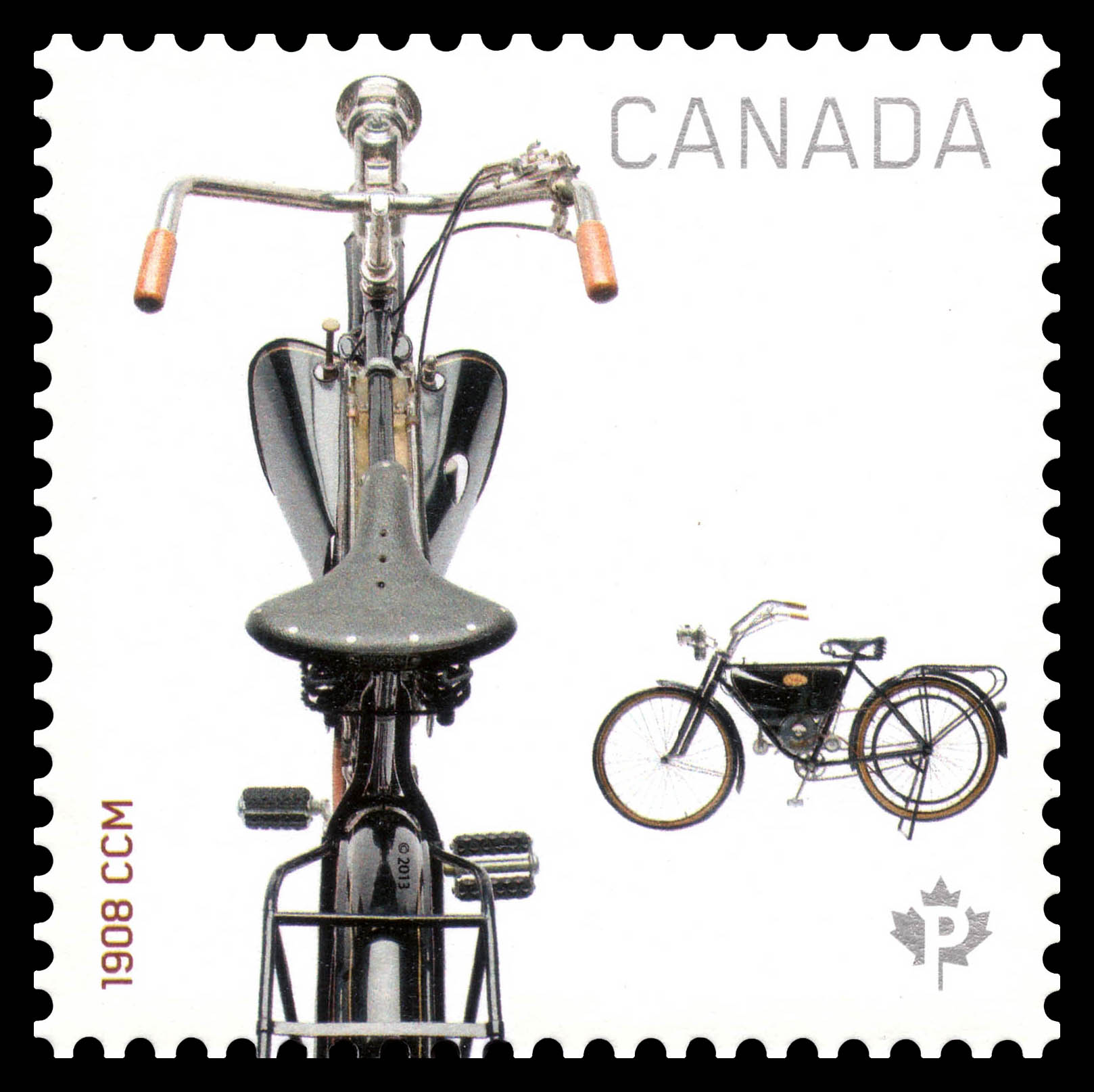 1908 CCM Motorcycle Canada Postage Stamp