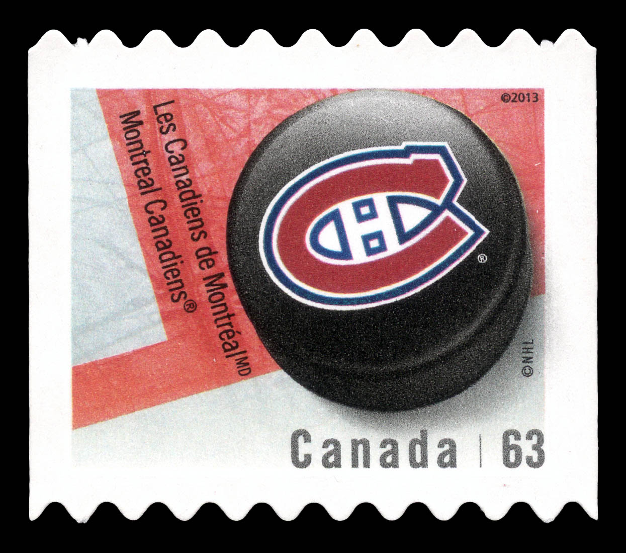 Montreal Canadiens Canada Postage Stamp | NHL Canadian Team Pucks