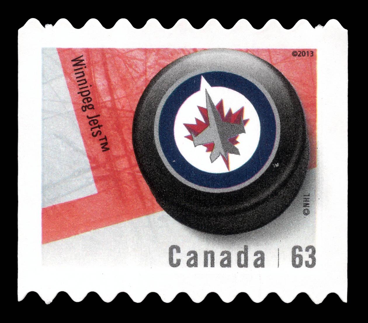 Winnipeg Jets Canada Postage Stamp | NHL Canadian Team Pucks