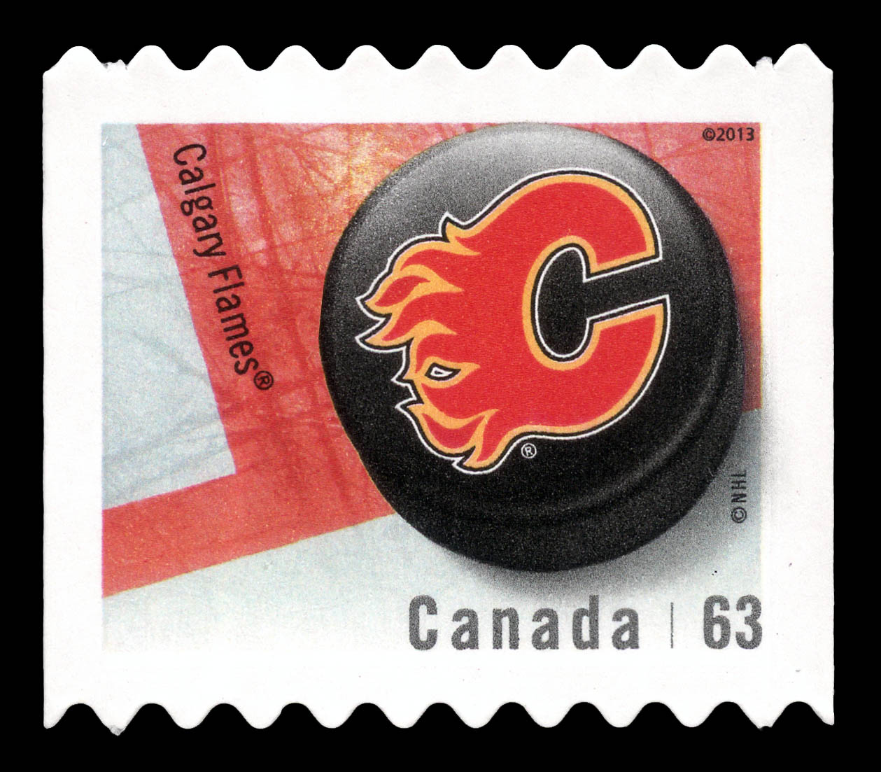 Calgary Flames Canada Postage Stamp | NHL Canadian Team Pucks