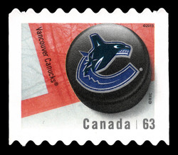 Vancouver Canucks Canada Postage Stamp | NHL Canadian Team Pucks