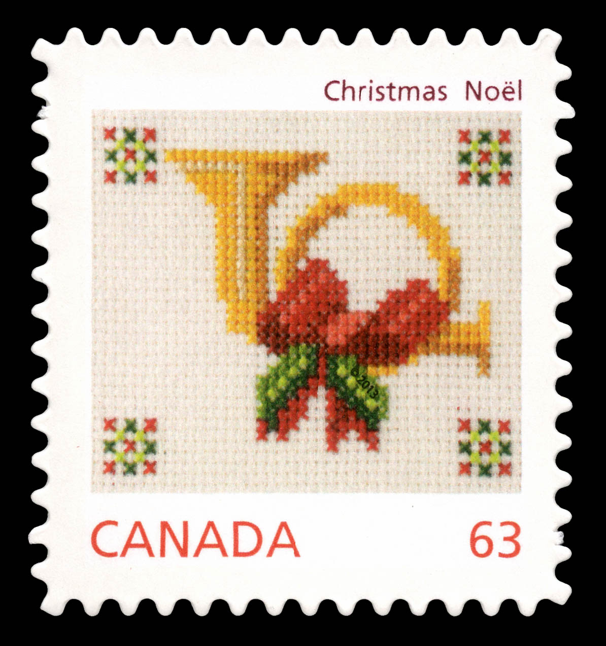 Christmas Horn - Cross-stitch Canada Postage Stamp | Christmas Crafts
