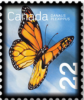 Monarch Butterfly (Danaus plexippus) Canada Postage Stamp   Beneficial Insects