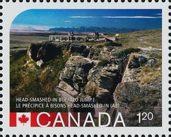 Head-Smashed-In Buffalo Jump, Alberta Canada Postage Stamp | UNESCO World Heritage Sites in Canada
