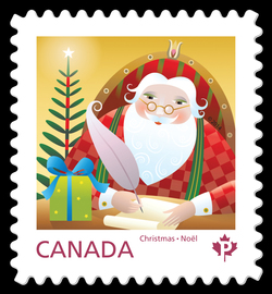Santa Writing a Letter Canada Postage Stamp | Santa 2014