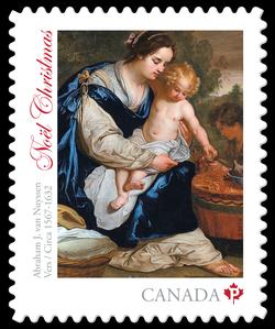 Madonna and Child by Abraham Janssen van Nuyssen Canada Postage Stamp