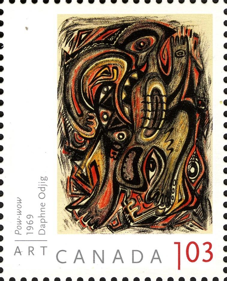 Daphne Odjig - Pow-wow Canada Postage Stamp   Art Canada
