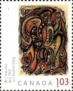 Daphne Odjig - Pow-wow Canada Postage Stamp | Art Canada