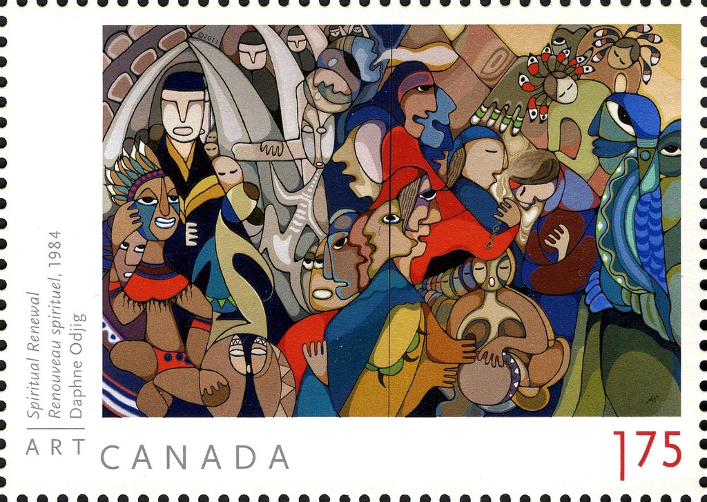 Daphne Odjig - Spiritual Renewal Canada Postage Stamp   Art Canada
