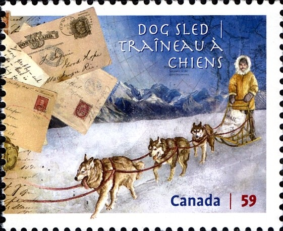 Dog Sled Mail Delivery Canada Postage Stamp | Methods of Mail Delivery