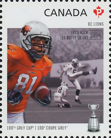 British Columbia (BC) Lions - Lui's Kick 1994 Canada Postage Stamp