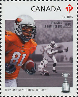 British Columbia (BC) Lions - Lui's Kick 1994 Canada Postage Stamp | 100th Grey Cup Game