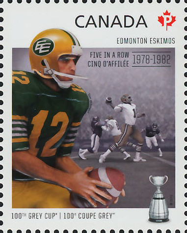 Edmonton Eskimos - Five in a Row 1978-1982 Canada Postage Stamp | 100th Grey Cup Game