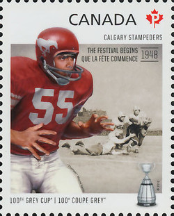 Calgary Stampeders - The Festival Begins 1948 Canada Postage Stamp | 100th Grey Cup Game