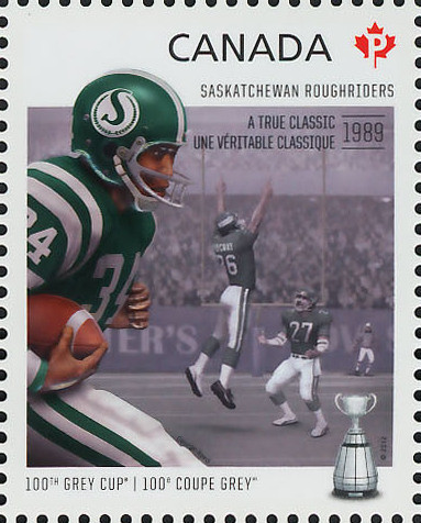 Saskatchewan Roughriders - A True Classic 1989 Canada Postage Stamp   100th Grey Cup Game