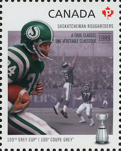 Saskatchewan Roughriders - A True Classic 1989 Canada Postage Stamp | 100th Grey Cup Game