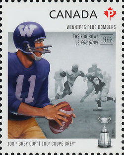 Winnipeg Blue Bombers - The Fog Bowl 1962 Canada Postage Stamp | 100th Grey Cup Game