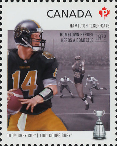Hamilton Tiger-Cats - Hometown Heroes 1972 Canada Postage Stamp | 100th Grey Cup Game