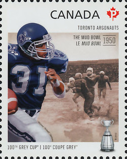 Toronto Argonauts - The Mud Bowl 1950 Canada Postage Stamp | 100th Grey Cup Game