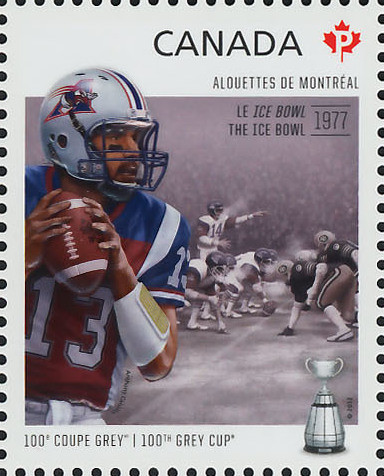 Montreal Alouettes - The Ice Bowl 1977 Canada Postage Stamp | 100th Grey Cup Game