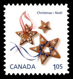 Gingerbread Star Cookies Canada Postage Stamp | Christmas Cookies