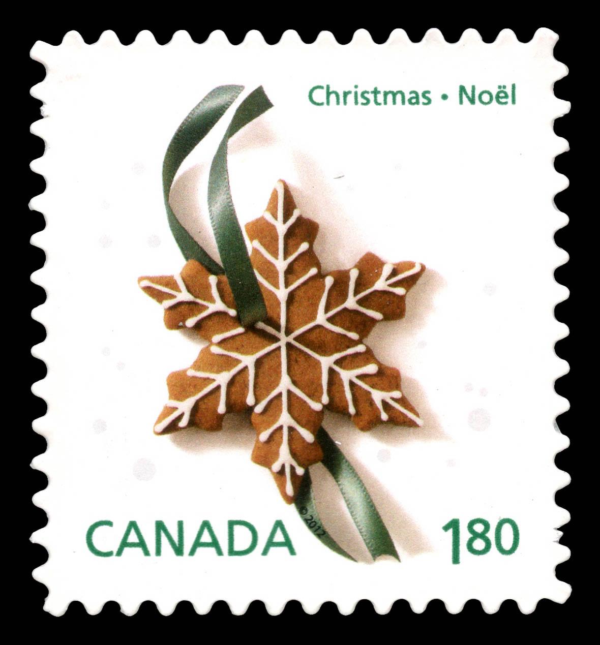 Gingerbread Snowflake Cookie Canada Postage Stamp | Christmas Cookies