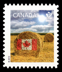 Prairie Hay Bale Flag Design Canada Postage Stamp | Canadian Pride - Definitives