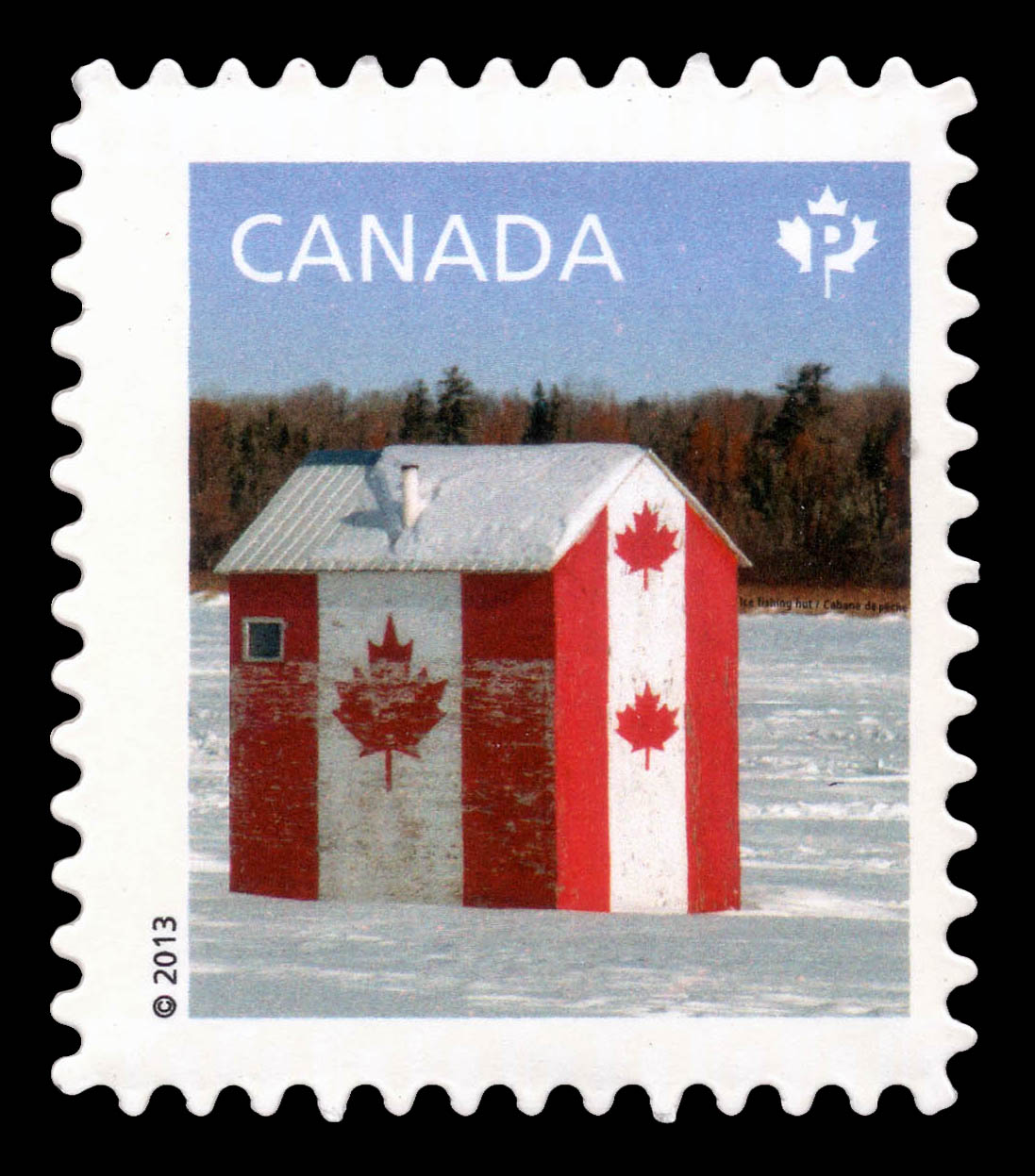 Ice Fishing Hut Flag Design Canada Postage Stamp | Canadian Pride - Definitives