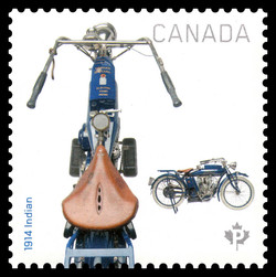 1914 Indian Motorcycle Canada Postage Stamp | Motorcycles