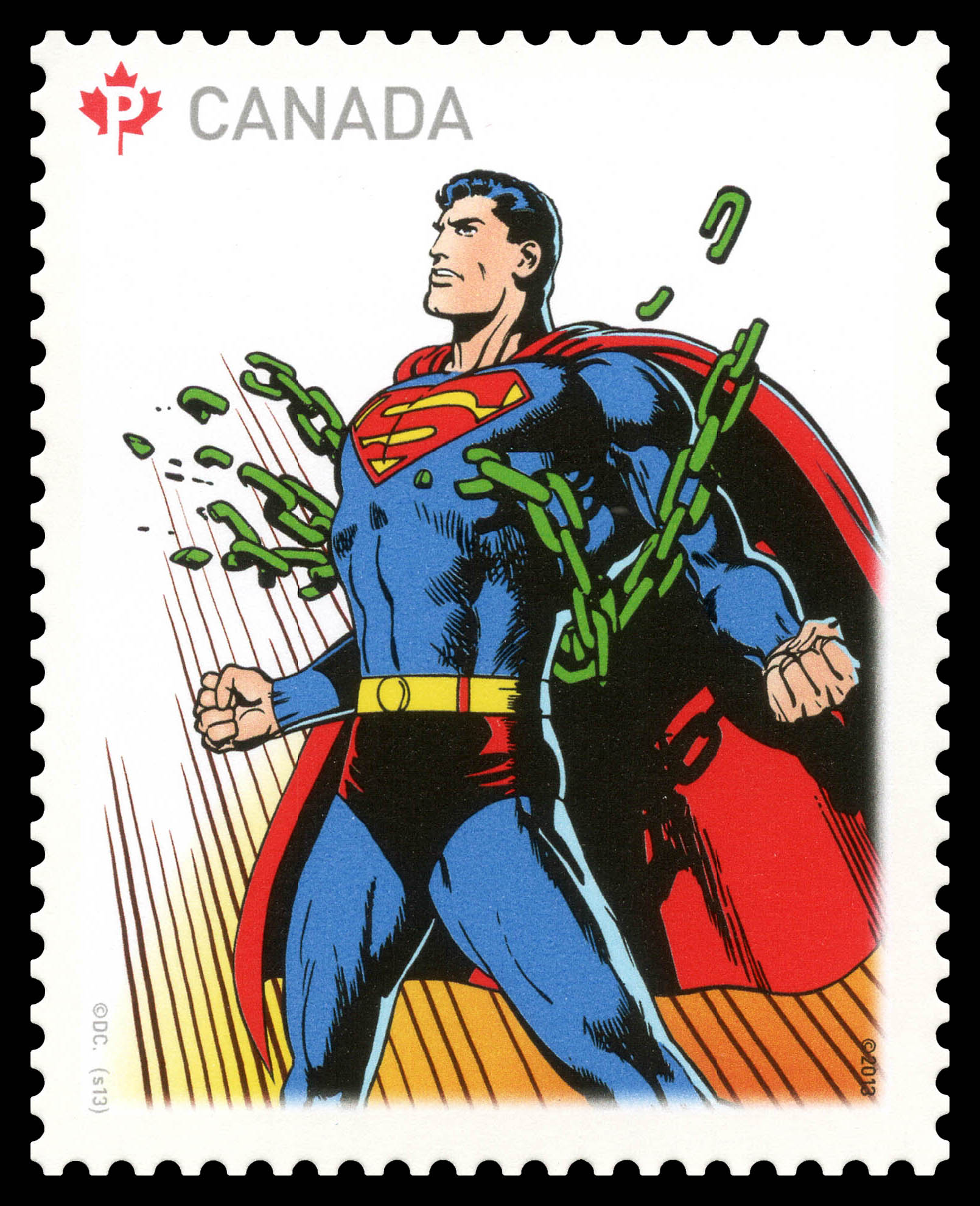 Superman Breaking Chains Canada Postage Stamp | Superman - 75th Anniversary