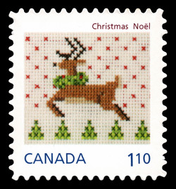 Christmas Reindeer - Cross-stitch  Postage Stamp