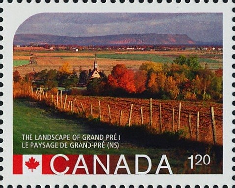 The Landscape of Grand Pre, Nova Scotia Canada Postage Stamp   UNESCO World Heritage Sites inCanada