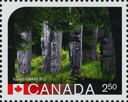 SGang Gwaay, British Columbia Canada Postage Stamp | UNESCO World Heritage Sites in Canada
