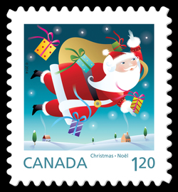 Santa with His Sack Canada Postage Stamp | Santa 2014
